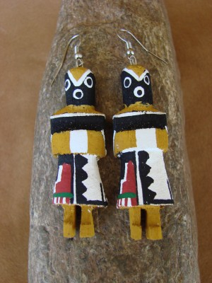 Navajo Indian Greasy Kachina Earrings! by Loretta Multine!