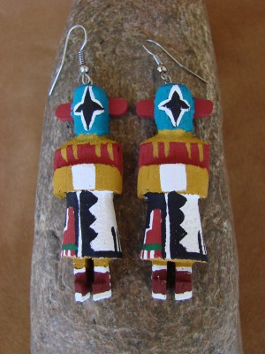 Navajo Indian Meteor Man Kachina Earrings! by Loretta Multine!