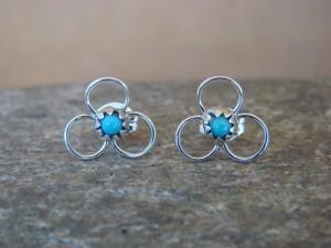 Native American Zuni Sterling Silver Turquoise Post Earrings! Handmade! Carol Halona