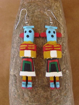 Navajo Indian Wood Carrier Kachina Earrings! by Loretta Multine!