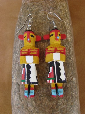 Navajo Indian Yellowcorn Kachina Earrings! by Loretta Multine!