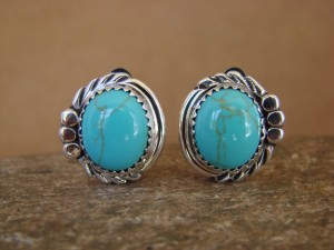 Native American Sterling Silver Turquoise Clip On Earrings by Delores Cadman