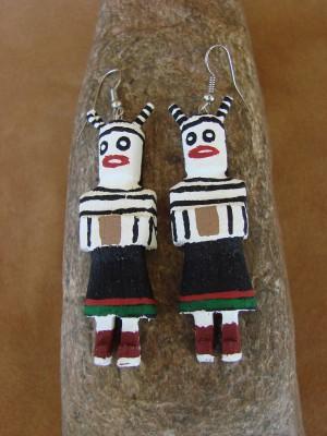 Navajo Indian Hopi Clown Kachina Earrings! by Loretta Multine!