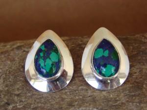 Native American Sterling Silver Azurite Post Earrings by Russel Wilson Navajo