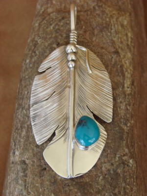 Navajo Indian Jewelry Sterling Silver Turquoise Feather Pendant! Ben Begay