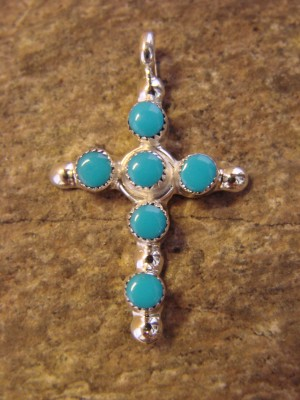 Zuni Indian Jewelry Sterling Silver Turquoise Cross Pendant by Gerald Siutza