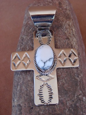 Native American Nickle Silver & White Howlite Cross Pendant Jackie Cleveland