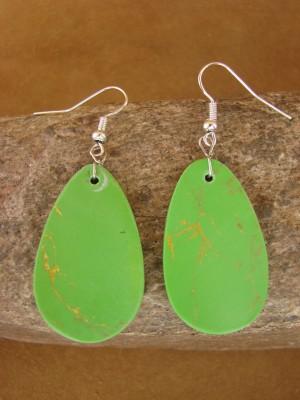 Navajo Indian Jewelry Gaspeite Slab Earrings! Native American