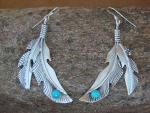 Native American Indian Jewelry Sterling Silver Turquoise Feather Earrings