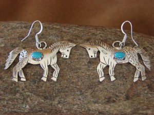 Navajo Indian Sterling Silver Turquoise Horse Dangle Earrings! Handmade