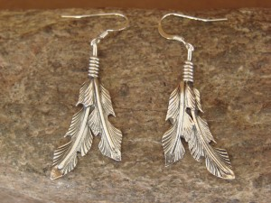 Native American Indian Jewelry Sterling Silver Feather Earrings