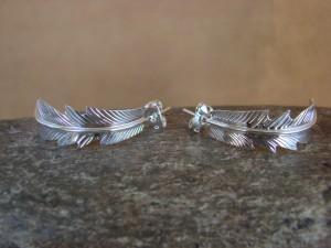 Navajo Indian Jewelry Sterling Silver Feather Hoop Earrings! Barney