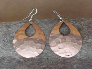 Navajo Indian Hand Stamped Copper Tear Drop Earrings by Douglas Etsitty!