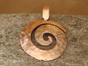Navajo Indian Jewelry Copper Swirl Pendant! Handmade by Douglas Etsitty