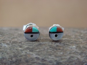 Small Zuni Indian Jewelry Sterling Silver Turquoise Sunface Post Earrings!