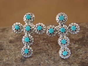 Native American Jewelry Zuni Sterling Silver Turquoise Cross Post Earrings!