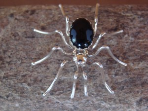 Native American Jewelry Sterling Silver Onyx Spider Pin by Spencer! Jewelry