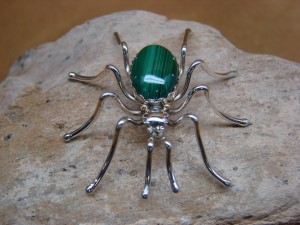 Navajo Indian Sterling Silver Malachite Spider Pin by Spencer! Jewelry