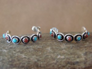Native American Sterling Silver Turquoise & Coral Hoop Earrings! Zuni Indian