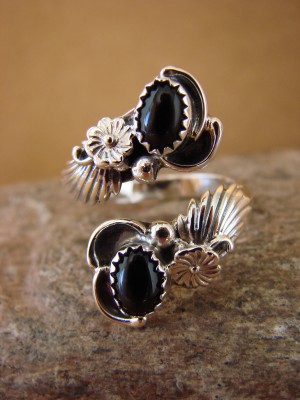 Native American Jewelry Sterling Silver Black Onyx Adjustable Ring!