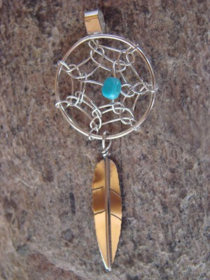 Navajo Indian Jewelry Handmade Sterling Silver Turquoise Dreamcatcher Pendant!