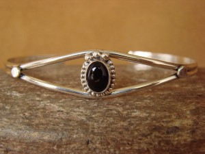 Small Navajo Indian Jewelry Sterling Silver Onyx Bracelet by J. Mariano