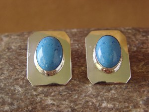 Native American Sterling Silver Denim Lapis Post Earrings by Delores Cadman
