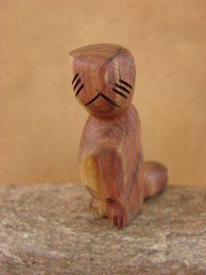 Zuni Indian Carved Cedar Standing Otter Fetish by Brandon Phillips!