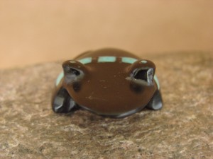Zuni Indian Hand Carved Inlay Black Jet Frog Fetish by Emery Boone!