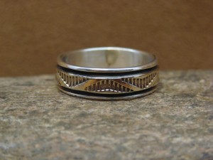 Native American Sterling Silver 14k Gold Ring Band, Size 10 by Bruce Morgan!