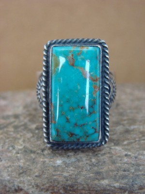 Navajo Sterling Silver Kingman Turquoise Ring, Adjustable Size 8! Virgil Begay