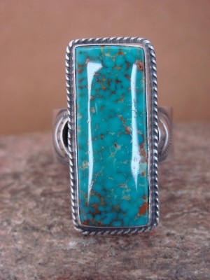 Navajo Sterling Silver Kingman Turquoise Ring, Adjustable Size 9.5! Virgil Begay