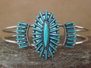 Zuni Indian Jewelry Sterling Silver Turquoise Cluster Bracelet by Carla Laconsello