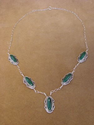 Native American Jewelry Malachite Sterling Silver Necklace by J. Mariano