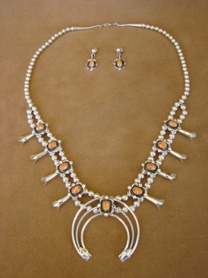 Navajo Indian Jewelry Spiny Oyster Squash Blossom Necklace and Earrings by Running Bear
