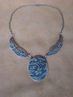 Native American Jewelry Sterling Silver Eagle Overylay Necklace! Signed