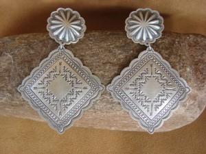 Native American Jewelry Sterling Silver Hand Stamped Earrings! by Harris Joe