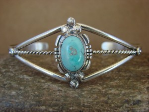 Navajo Indian Jewelry Sterling Silver Turquoise Bracelet by Marie Begay