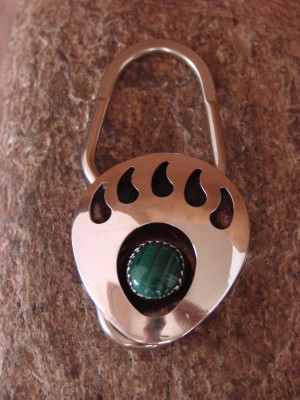 Navajo Indian Hand Made Malachite Bear Paw Key Chain by Virginia Johnson