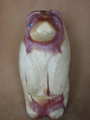 Zuni Indian Hand Carved Large Cedar Standing Bear Fetish by Herb Halate!