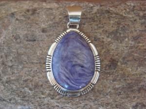Navajo Indian Sterling Silver Purple Charoite Pendant! Handmade Southwestern
