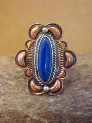 Native American Jewelry Lapis & Copper Handmade Ring, Size 11