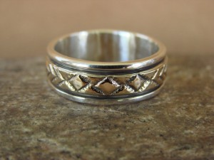 Native American Sterling Silver 14k Gold Ring Band, Size 9 1/2 by Bruce Morgan!