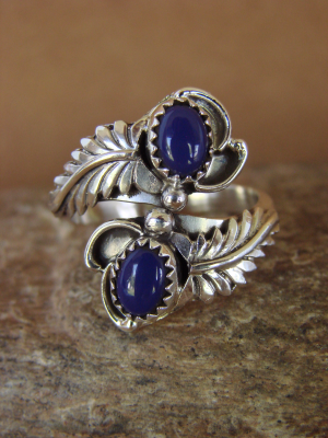 Native American Jewelry Sterling Silver Lapis Adjustable Ring!