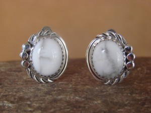 Native American Sterling Silver Howlite Clip On Earrings by Delores Cadman Navajo