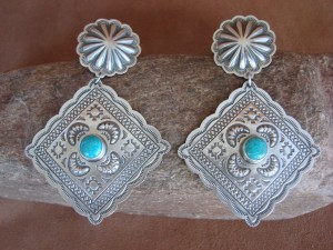 Native American Sterling Silver Turquoise Hand Stamped Earrings! by Harris Joe