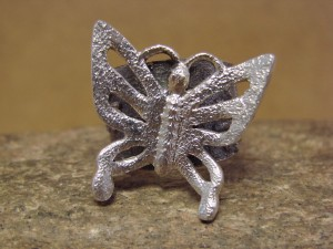 Navajo Indian Sterling Silver Butterfly Ring by Lee Begay! Size 8 Tufa Cast