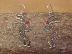 Navajo Indian Sterling Silver Kokopelli Dangle Earrings by Lee Begay! Tufa Cast