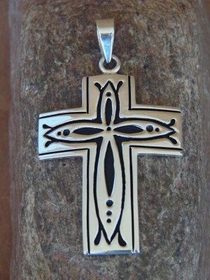 Native American Indian Jewelry Sterling Silver Cross Pendant by Steven Begay