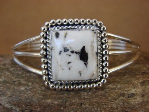 Native American Indian Jewelry Sterling Silver White Buffalo Turquoise Bracelet